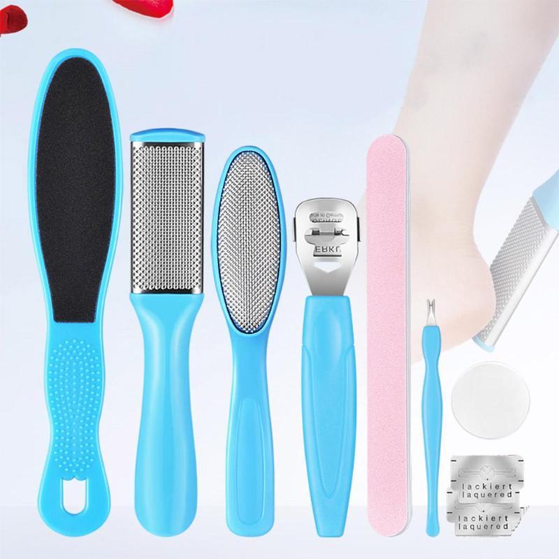 8Pcs/Set Manicure Foot Care File Set Dead Hard Skin Callus Remover Scraper Pedicure Rasp Tools Feet Care Tool Kit Stainless Tool