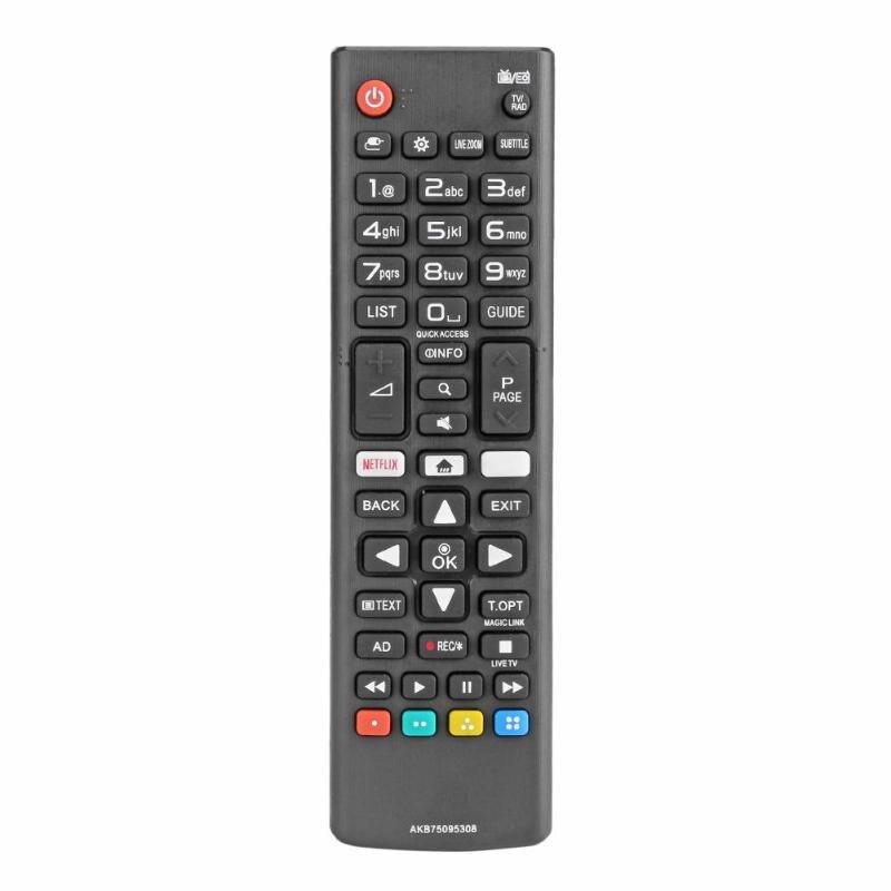 ABS универсальный дистанционный пульт дистанционного управления Замена AKB75095308 для LG Smart TV 43UJ6309 с Netflix Black