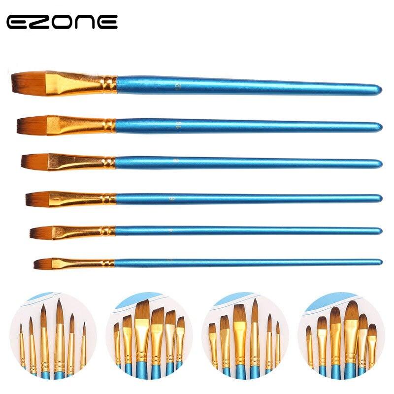 EZONE 6 unids/set pincel de pintura de Nylon, soporte de madera, diferentes formas, punta redonda, Acuarela, Gouache, conjunto de pinceles de pintura