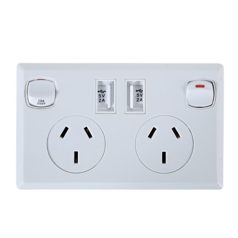 Doble USB, toma de corriente de pared enchufe 250V 10A salida estándar casa punto de poder suministrar Placa de adaptador de salida hembra 2 interruptores es macho