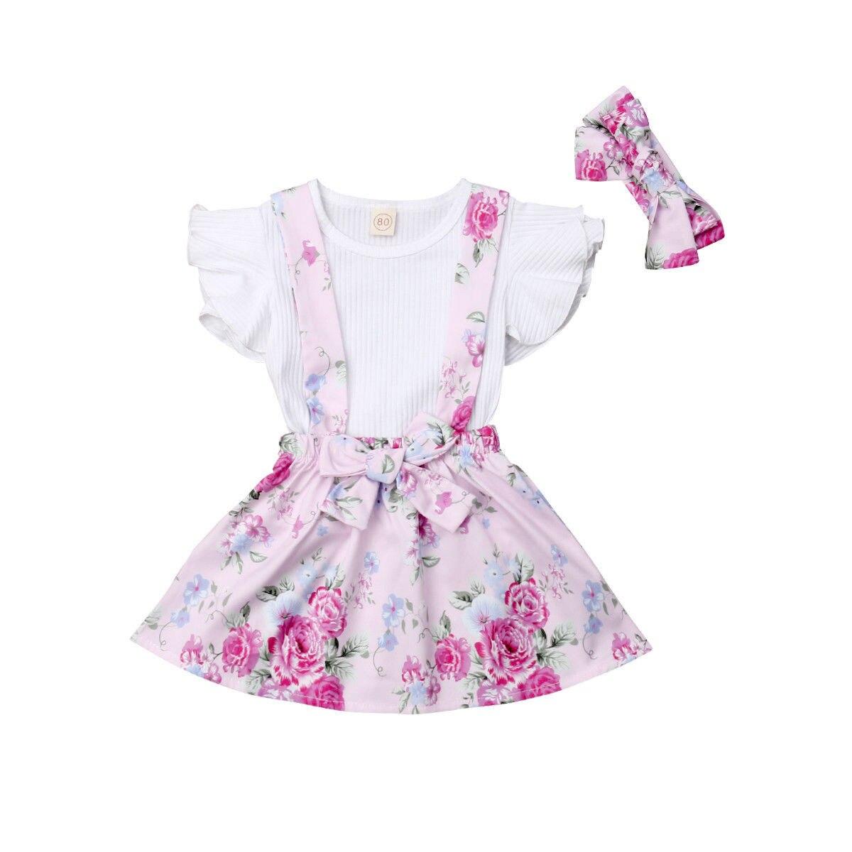 2018 Multitrust Brand Toddler Kid Baby Girls White Top Floral Princess Skirt Strap Pink Ruffle Sleeve Outfits Summer Sweet Set