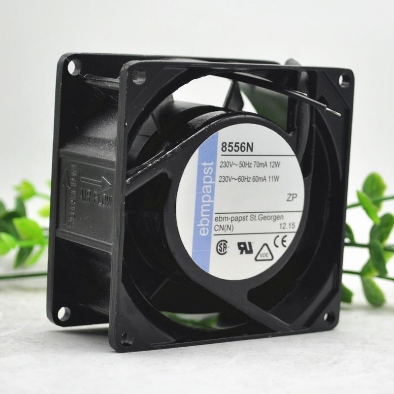 Ebm Papst 8556V AC 230V 60 ~ 70mA 11 ~ 12W 80x80x38mm servidor cuadrado ventilador de refrigeración