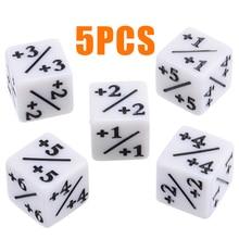 5 pièces blanc dés compteurs négatif + 1/+ 1 pour la magie la collecte MTG drôle Table bureau parti Bar jeux de jeu outil