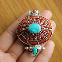 PN176 tibétain argent rouge corail perles ovale boîte de prière pendentif collier à la main népal Gau amulette nouveauté