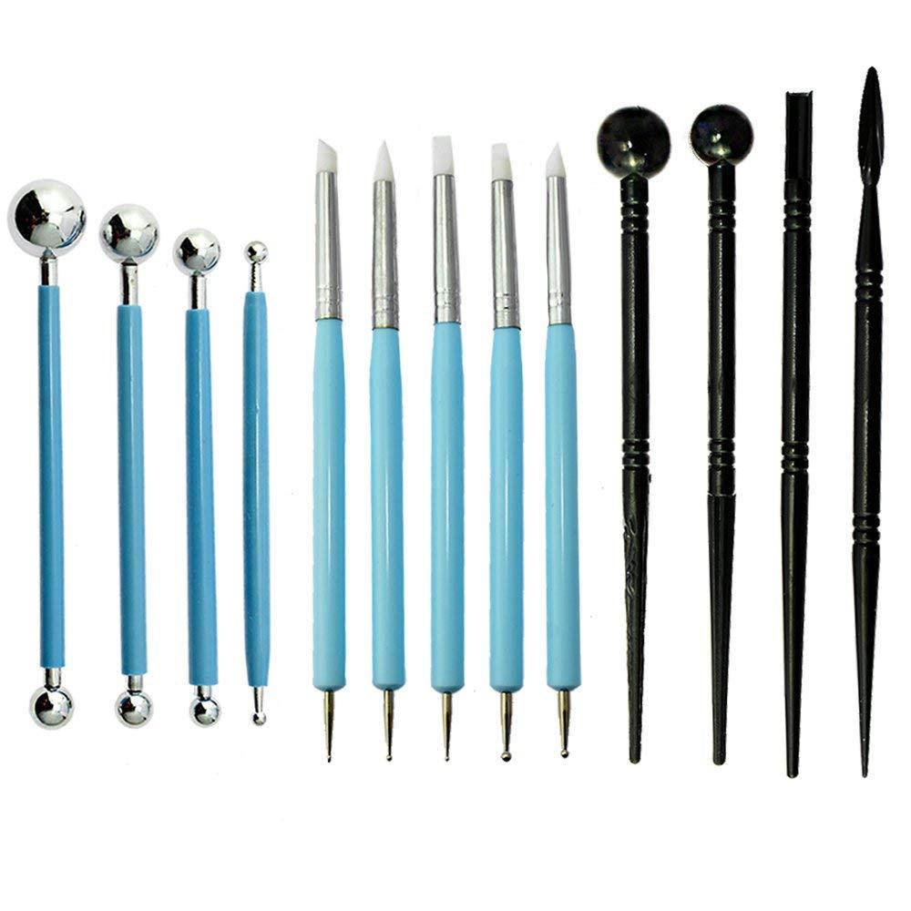13 Uds. Herramientas de modelado de arcilla polimérica, bolígrafo punteador, puntas de silicona, lápiz de bola, herramientas de hendidura de cerámica