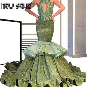Shiny Green Evening Dress Luxury Robe De Soiree Arabic Dubai Prom Dress Islamic Aibye Appliques Formal Dress Handmade Newest