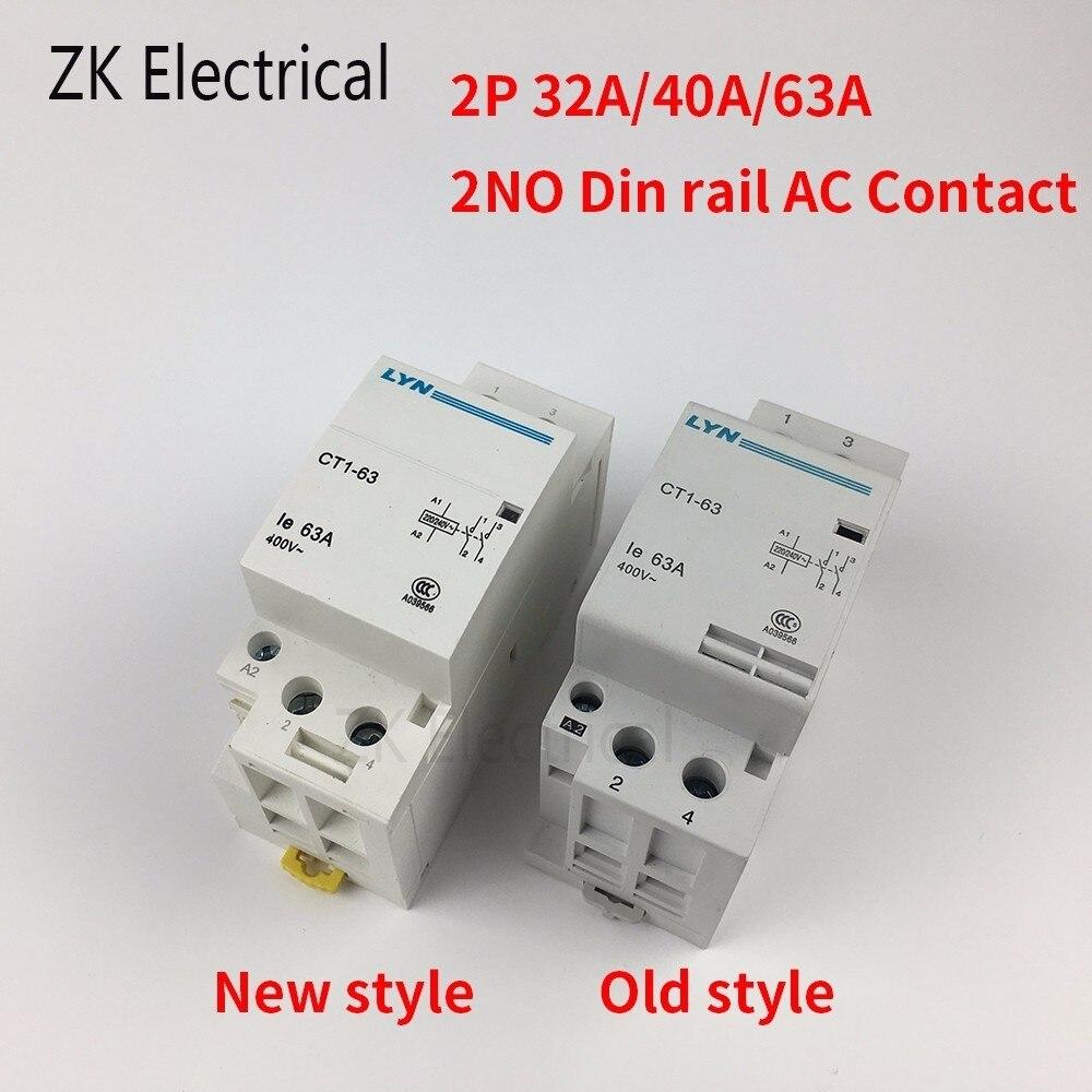 Contactor de raíl Din CT1 2P 32A 40A 63A 220V/230V 50/60HZ para...