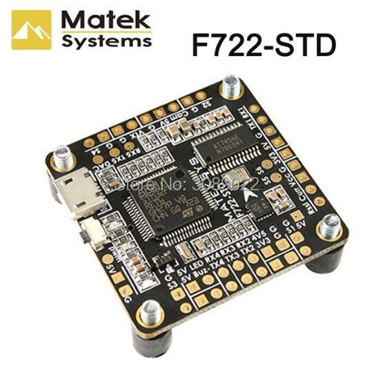 Matek Systems F722-STD F7 Flight Controller features STM32F722RE, ICM20602, BMP280,BFOSD, Blackbox Micro SD Card Slot DShot ESC