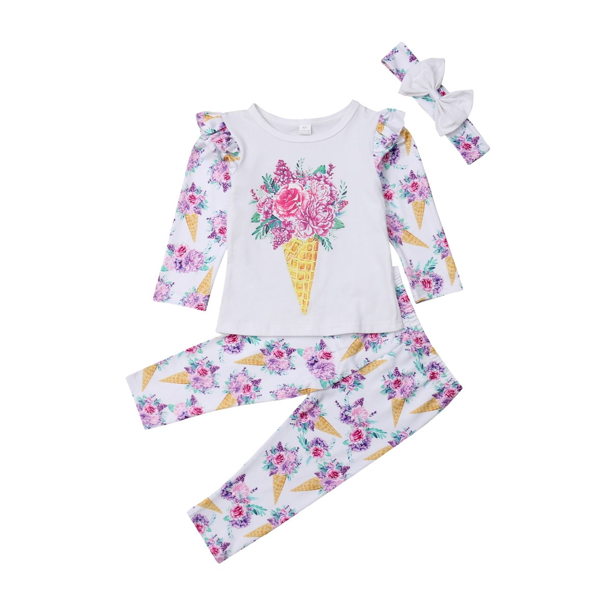 Conjuntos de ropa para niñas y niños pequeños, Tops de helado Floral, camiseta, pantalones de manga larga, diademas, trajes de 3 piezas para niñas 0-5 T