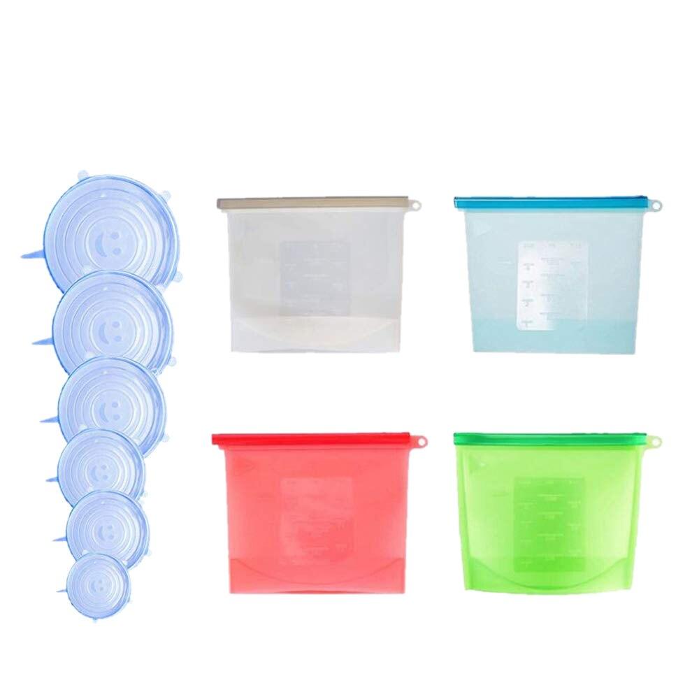 Kit de almacenamiento de alimentos de silicona reutilizable, 4 bolsas de almacenamiento de alimentos sin BPA con 6 tapas elásticas de silicona, comodidad ecológica para Pr