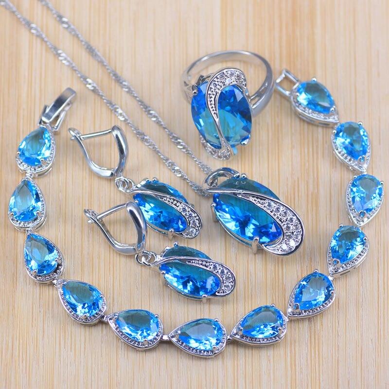 Błękitny księżniczka biżuteria kryształowa kolor srebrny kostium ślubny zestawy biżuterii dla panien młodych pierścień/wisiorek/kolczyki/bransoletka