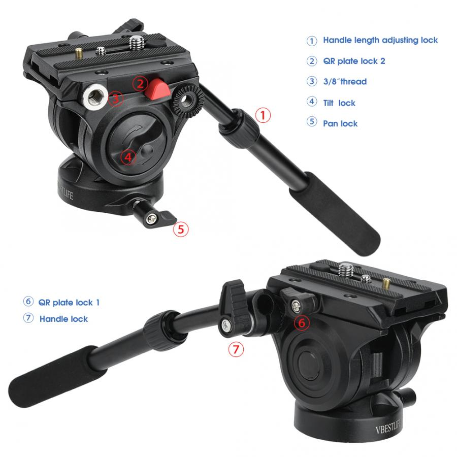 Cámara videocámara trípode cabeza Fluid Drag Pan/Tilt Head con placa de liberación rápida para fotografía panorámica de 360 grados