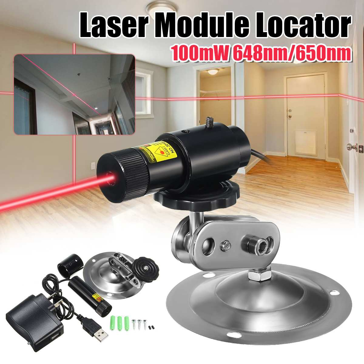 650nm 100mW Red Laser Line Module Locator For Cutting Machine + Adapter & Mount Industrial Woodworki