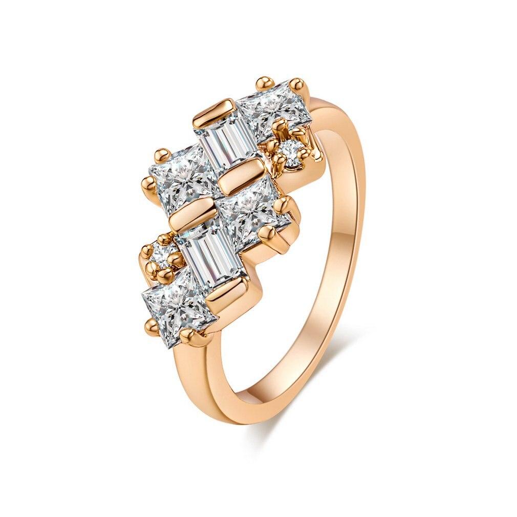 Anillo de circón J0478-J-B-6.5 de Patrón de tejido, anillo de cobre para dedo, aro de aro, joyería de moda, decoración para regalo