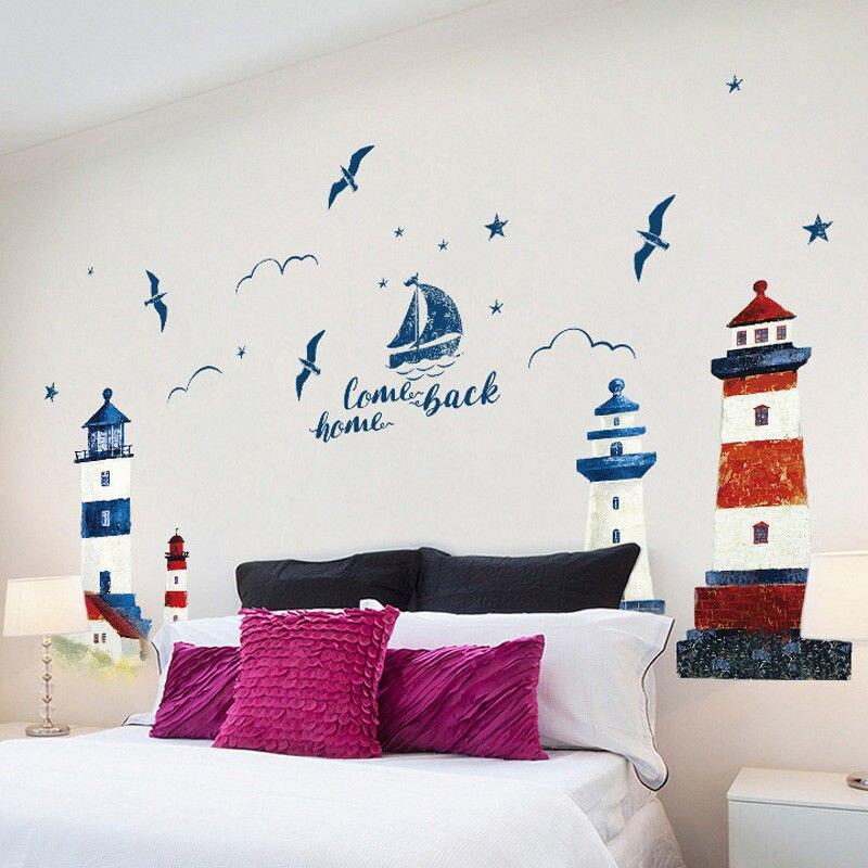 Adhesivos de pared de mar velero faro barco náutico Gaviota Mar Océano Adhesivo de pared de Casa calcomanías Mural decoración 190*118cm papel pintado