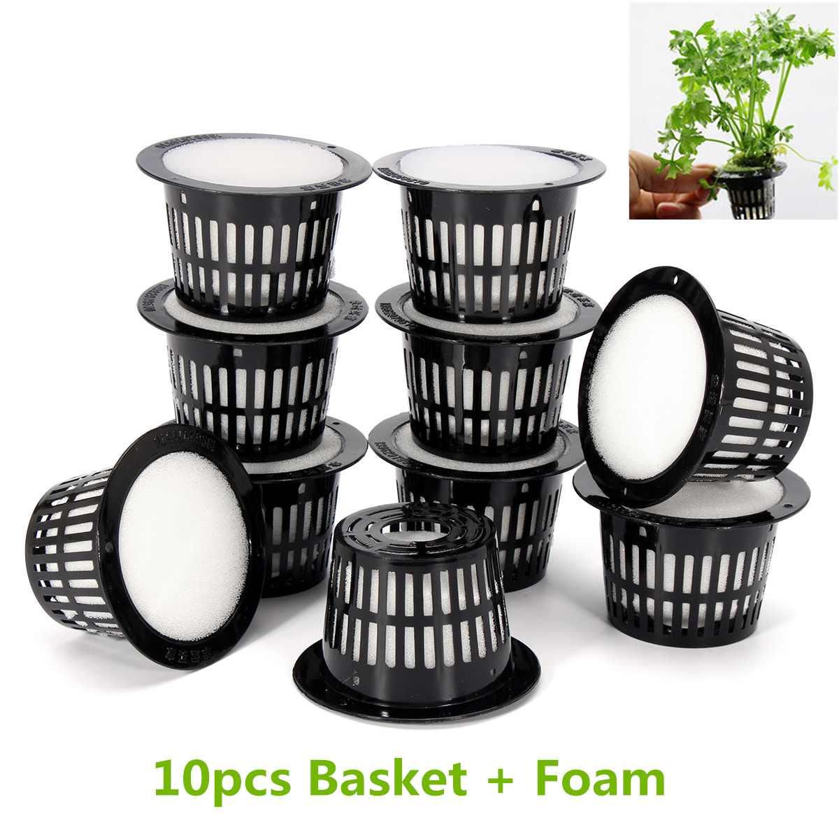 10Pcs Mesh Pot Net Cup Basket Hydroponic System Garden Plant Grow Vegetable Cloning Foam Insert Seed