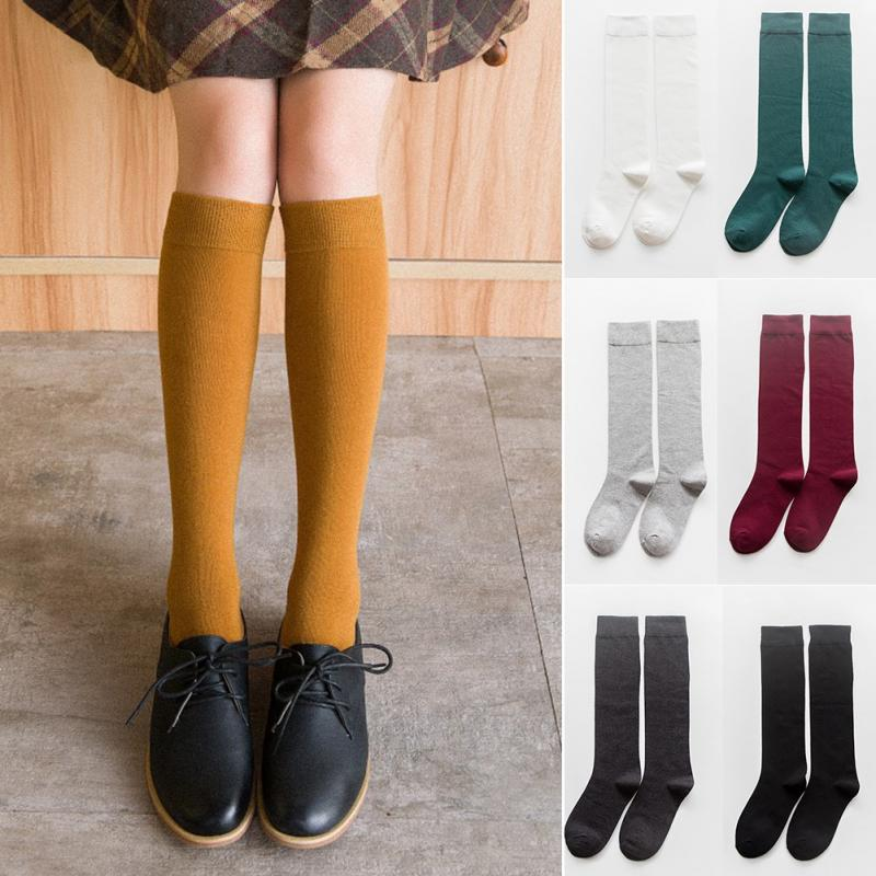 1 Pair of Women's Socks Autumn Winter Fashion Long Socks Preppy Style Knee High Girls Socks Solid Color High Elastic School