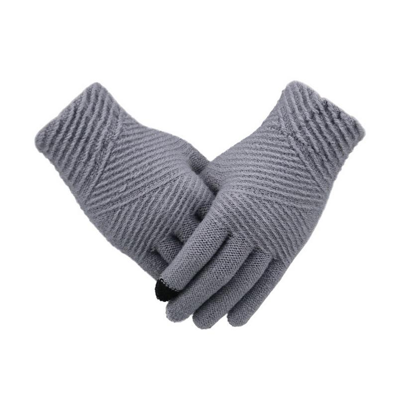 Winter Touch Screen Gloves Women Men Warm Stretch Knitting Mittens Imitation Wool Full Finger Guantes Female Crochet Thicken