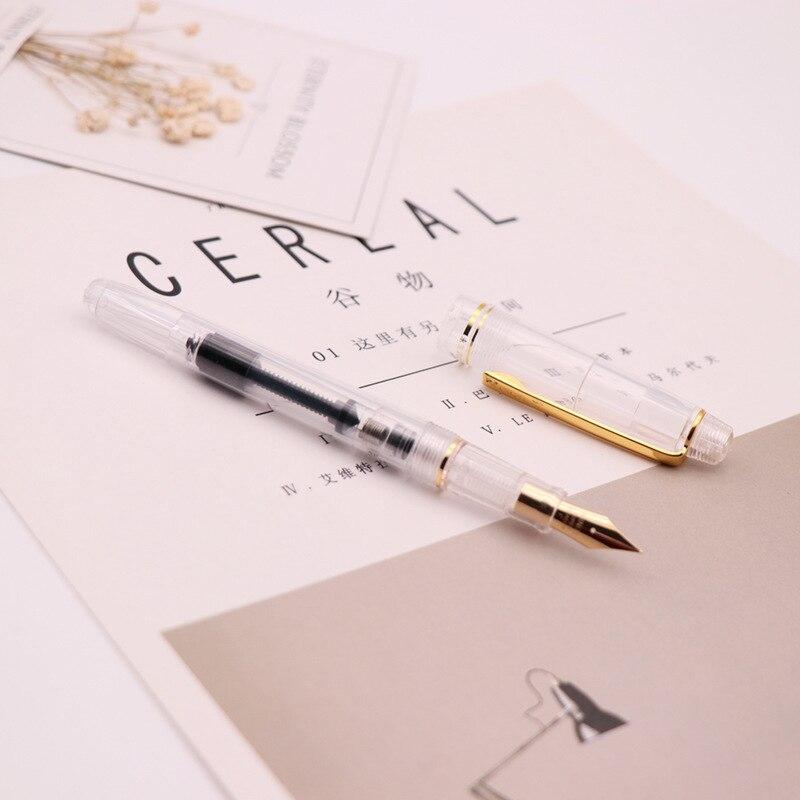 Ouro nib transparente estético caneta fonte qualidade bens escola material de escritório bonito papelaria