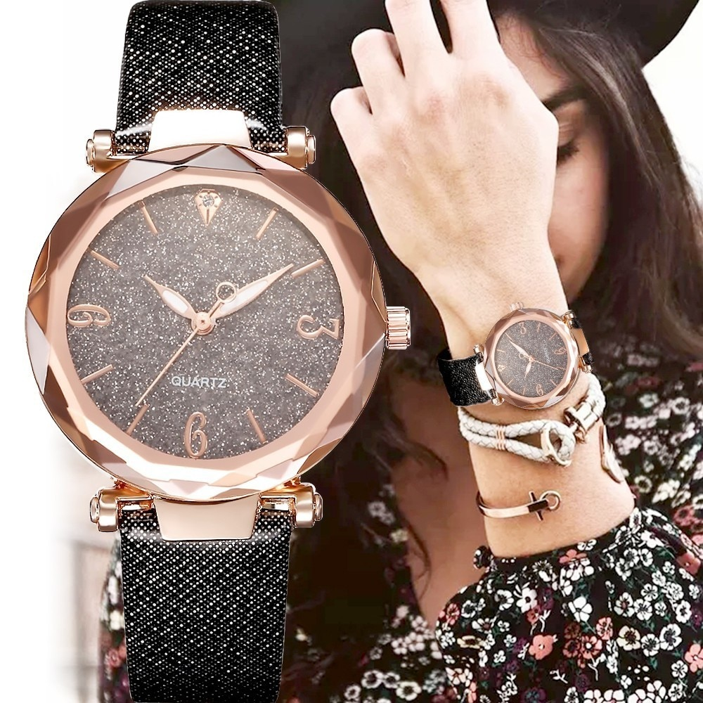 2020 NEW Fashion Black Women Watches Luxury Leather Shiny Casual WristWatch Ladies Quartz Watch Reloj Mujer Montre Femme Clock reloj hombre luxury women watches diamond ladies watch casual quartz wristwatch for women clock relogio feminino montre femme