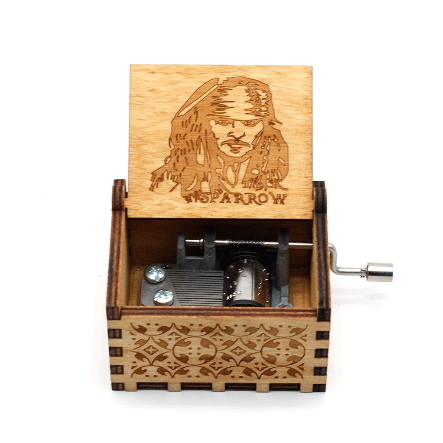 Anonymity wooden Hand-Crafted Jack Sparrow from Pirates of the Caribbean plays melody Davy Jones Mus