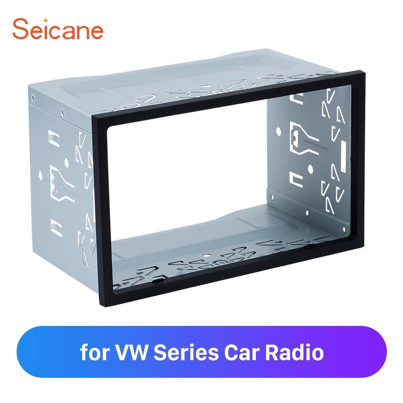 Seicane, Universal, 2 Din, marco de salpicadero para Radio para VW Passat serie Sharan, Jetta Chico Transporter, Kit de coche de Golf estéreo plateado