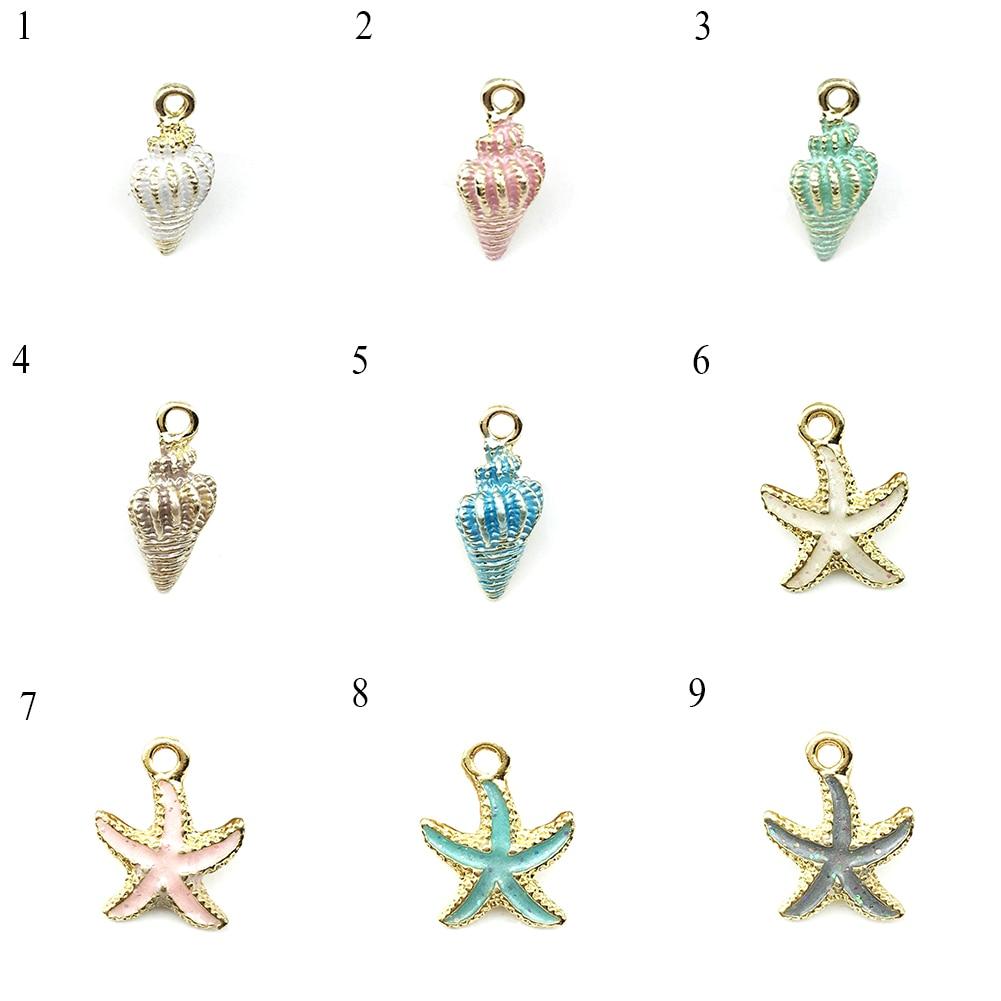 De moda Simple de estrella de mar Concha colgante de concha de mar DIY colgantes para joyería haciendo calidad de aleación de oro azul accesorios para mujeres regalos
