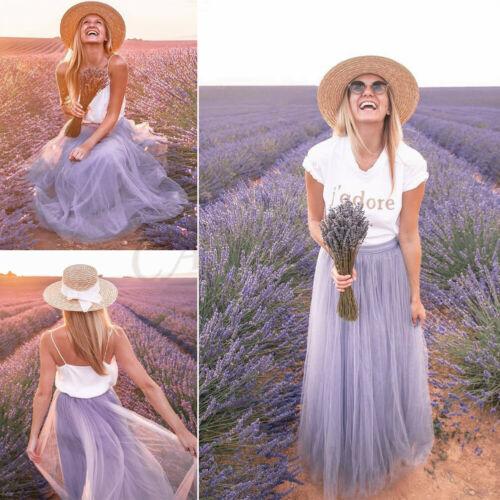2019 nueva llegada mujeres Boho doble capa de gasa Retro largo Maxi falda Sundress falda Casual falda