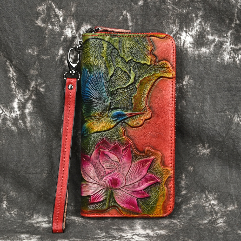 Genuine Leather Purse Clutch Wrist Bags Female Money Card Holder Flower Bird Embossed Retro Women Real Cowhide Long Wallet