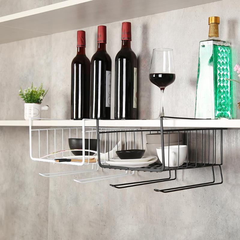 Armario de hierro, puerta de armario, organizador, cesta, cesta colgante debajo del estante, almacenamiento, cocina, cesta de almacenamiento, Organizador