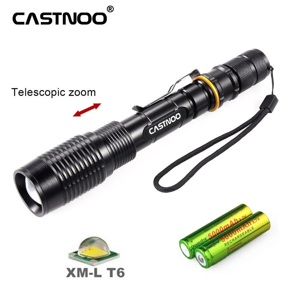 CASTNOO potente 8000 lúmenes T6 linterna LED antorcha táctica 5 modos camping caza senderismo Linterna + batería 18650