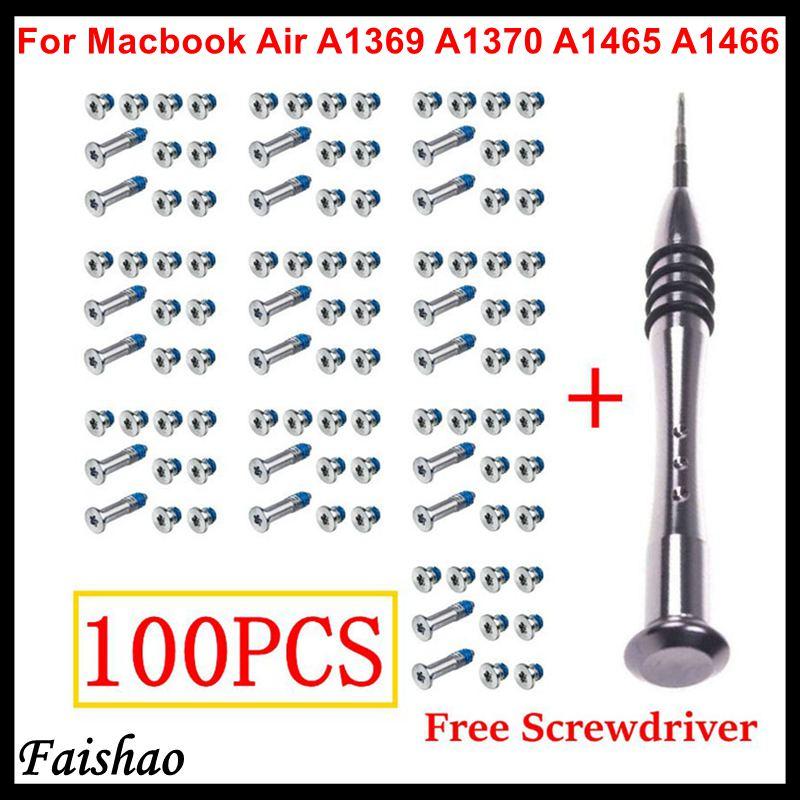 """Faishao 100 шт./10 комплектов винты с нижней крышкой для Apple MacBook Air 11 &quot13"""" A1369 A1370 A1465 A1466"""