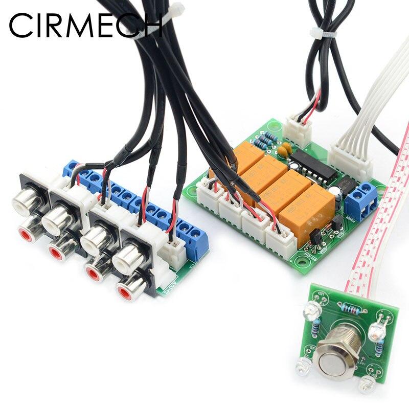 Selector de señal de entrada de Audio de 4 vías con relé de CIRMECH, conmutador de selección de entrada de Audio RCA para amplificadores