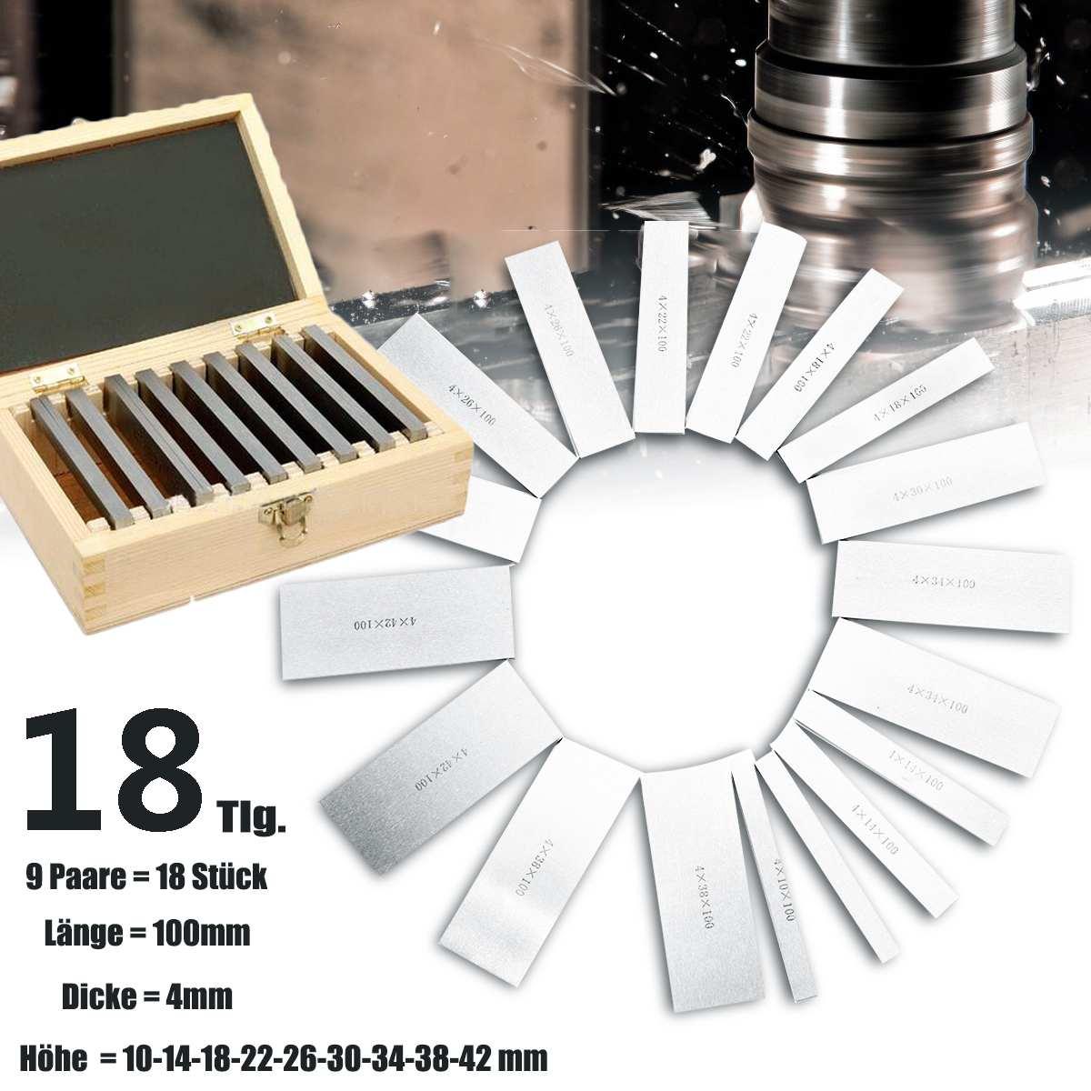9 Pairs 18Pcs High-präzision Hergestellt Parallel Pad Gauge Block CNC Fräsen Pads Set 100mm x (10-42mm) stahl Leicht Tragen