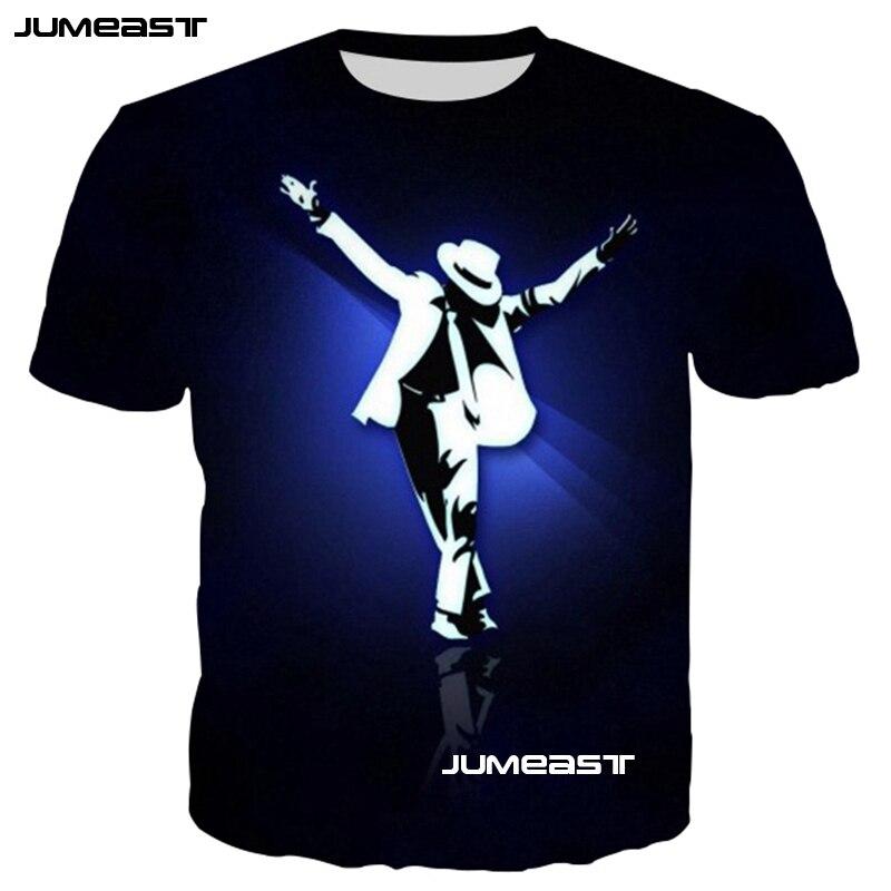 Jumeast Simple moda 3D imprimir camiseta Dance King Michael Jackson camiseta para hombres/mujeres verano o-cuello de manga corta pasos de baile