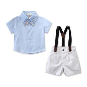 2019 Brand New Summer Infant Baby Boy Gentleman Outfits Suits Short Sleeve Shirt+Bib Pants+Bow Tie Set 3Pcs