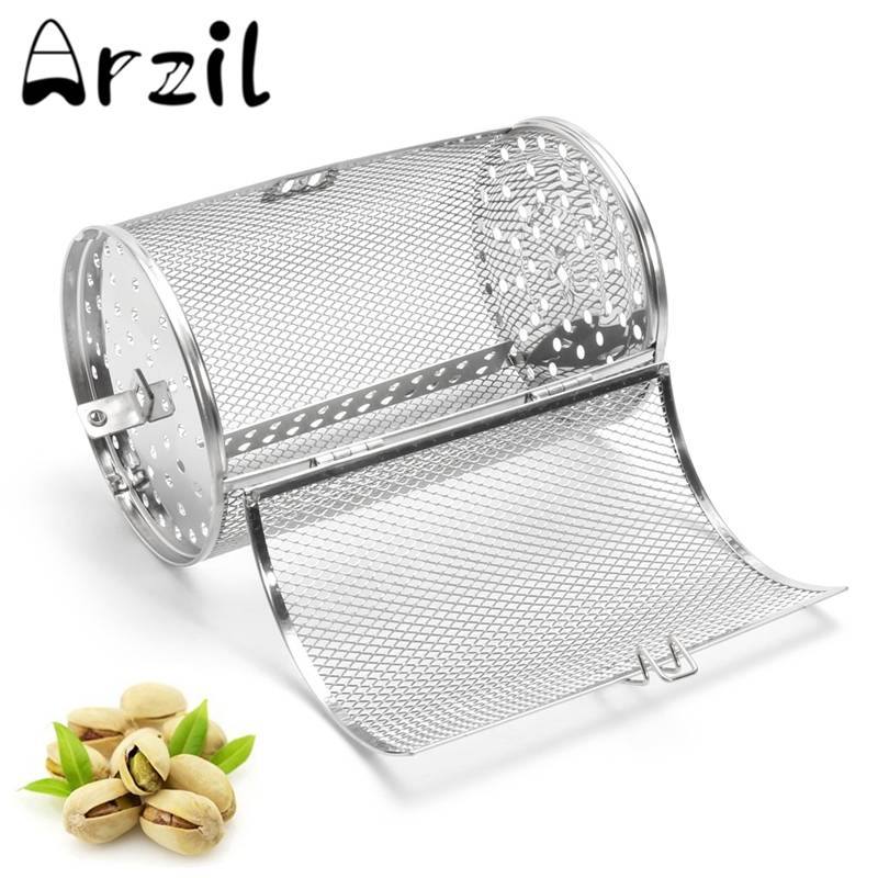 Cesta de almacenamiento de cacahuetes granos de café horno asado jaula parrilla cocina Acero inoxidable parrilla asador tambor 14*18 cm/12*18 cm