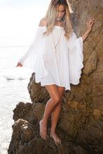 2020 nueva gran oferta sexy vestido suelto de verano manga larga acampanada vestido blanco bohemio playa mini vestidos slash cuello volantes vestidos