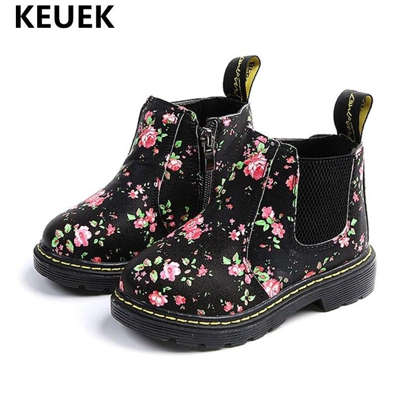 Kinder Stiefeletten Mädchen Jungen Baby Floral Blume Drucken Chelsea Stiefel Mädchen AutumnChildren Schuhe größe 21-36 02