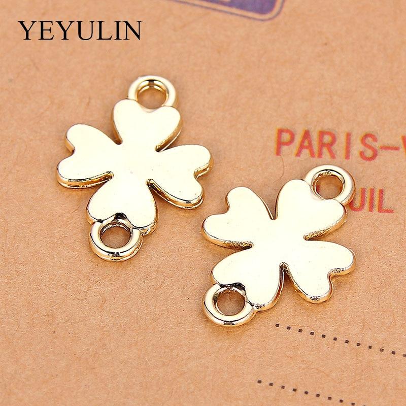 10 Uds pulsera con forma de trébol de cuatro hojas conector de aleación con Color dorado para collar hecho a mano DIY joyería de moda