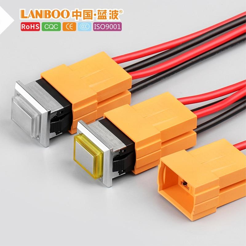 Kcd1 led botón de metal de plástico 2NO 4 pines interruptor cuadrado 250v 15A verde rojo