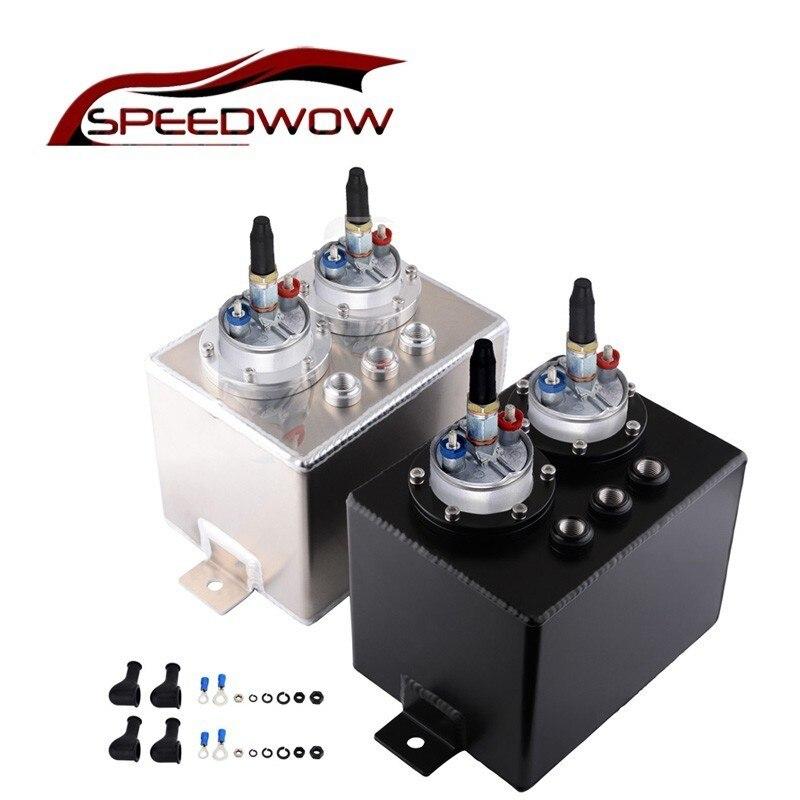 SPEEDWOW 3L Universal de doble puerto de aluminio tanque de combustible de sobretensión con doble bomba de combustible de presión alta captura de aceite puede plata o negro