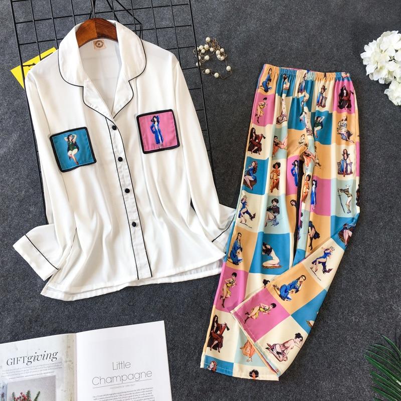طقم بيجامة نسائي مطبوع ، ملابس نوم كورية جميلة بأكمام طويلة وبنطلون ، 2019