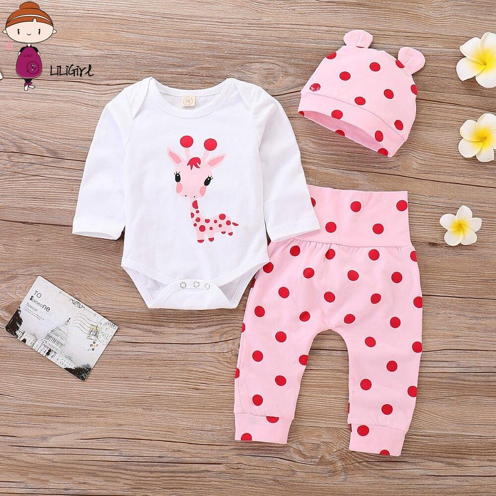 Одежда для маленьких девочек LILIGRIL, комплект одежды в горошек для новорожденных девочек, красивая одежда с рисунком жирафа для маленьких девочек, с шапкой, на весну-осень