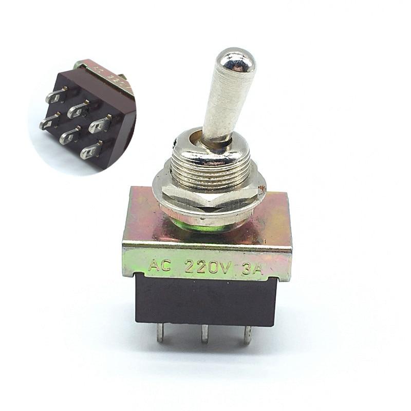 5 uds interruptor de palanca de KN3-3 interruptor basculante ON 6 pin-ON 2 vías DPDT 3A AC 220V