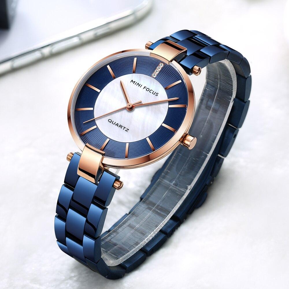 FOCO MINI Elegante Vestido Mulheres Relógios Top Marca de Luxo de Quartzo Relógio Analógico Mostrador Azul Bracelete de Metal 2019 Moda Feminina Relógio de Pulso