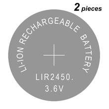 Button Coin Cell Batterijen Li-Ion Oplaadbare Batterij LIR2450 3.6V 2450 Vervangt CR2450 2 Stuks