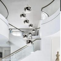 dining room lights Modern glass pendant lamp E27 led Lamps coffee shop Bar Chrome glass ball pendant light stair project lamp