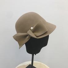 2018 Autumn And Winter New Bucket Basin Of Bowknot Pearl Wool Hat Female Warm Fashion Female Warm