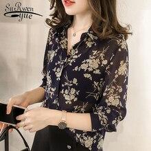 Moda kadın bluzlar 2019 uzun kollu baskı şifon bluz gömlek artı boyutu 3XL 4XL OL bluz kadın Blusa Feminina gömlek 1058 40